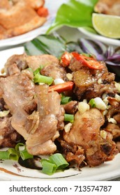 Stir fry with chicken, sweet peppers and chinese vegetables - Chinese food