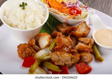 Stir fry teriyaki sauce pork with vegetables