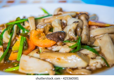 Stir three mushroom with oyster sauce, Thailand.