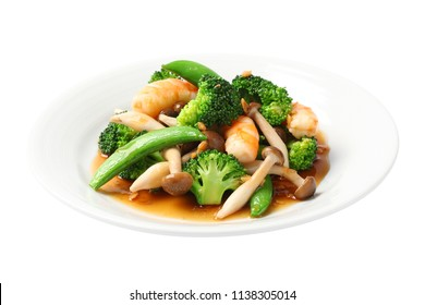 Stir-Fried Broccoli with Shrimp isolated on white background.