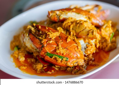 Stir-Fried Crab in Curry Powder, yellow curry, Asian Food.