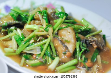 stir-fried fish with vegetable and oyster sauce