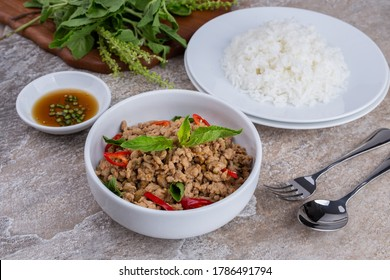 stir-fried minced pork and basil with rice , Thai famous Street food