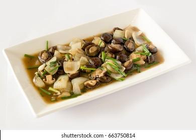 Stir-Fried mushroom on white background