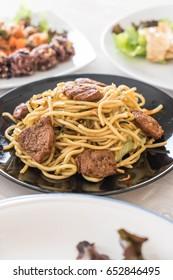 stir-fried noodle with fried tofu - vegan food