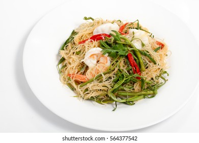 Stir-fried noodle with water mimosa isolated
