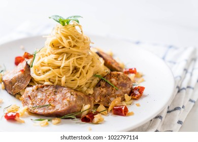 Stir-Fried Spaghetti with Sai Aua (Notrhern Thai Spicy Sausage) - Fusion food style