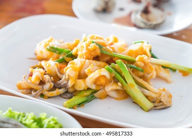 Stir-Fried Squid with Salted Eggs on plate