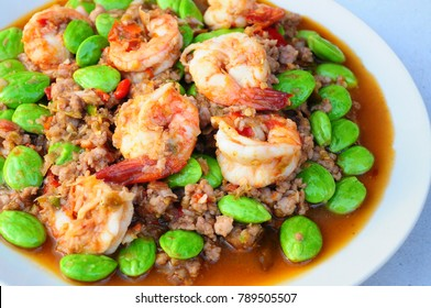 Stir-Fried Twisted Cluster Bean with Shrimps