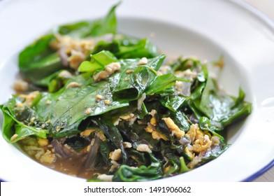 stir-fried vegetable or stir-fried baegu with egg, Thai food