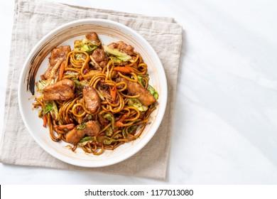 stir-fried yakisoba noodle with pork - Asian food style