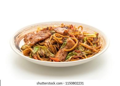 stir-fried yakisoba noodle with pork isolated on white background