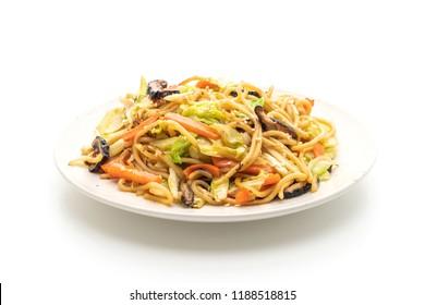 stir-fried yakisoba noodle with vegetable isolated on white background