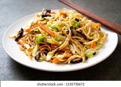 stir-fried yakisoba noodle with vegetable - vegan and vegetarian food