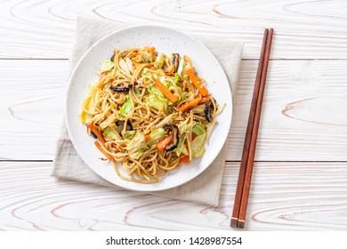 stir-fried yakisoba noodle with vegetable - vegan and vegetarian food