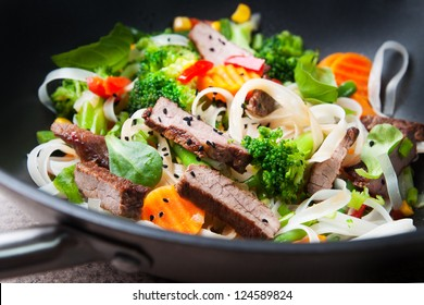 stir-fry with beef  rise noodle and vegetables