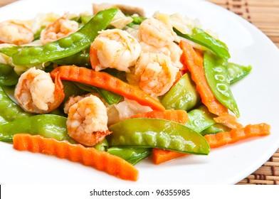 stir-fry vegetables and shrimp