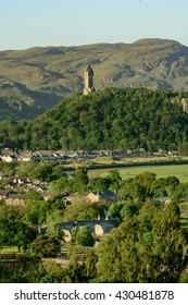 Stirling Bridge across the Rover Forth and the Wallace Monument in background.  Stirling, is the location of the Scottish victory at the 1297 Battle of Stirling Bridge.