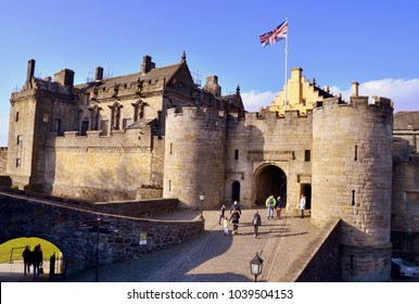 Stirling Castle entrance, famous Scottish Castle, home of Mary Queen of Scots and Robert the Bruce, Stirling, Scotland UK. March 2018