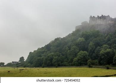 Stirling castle in fog, Scotland, UK