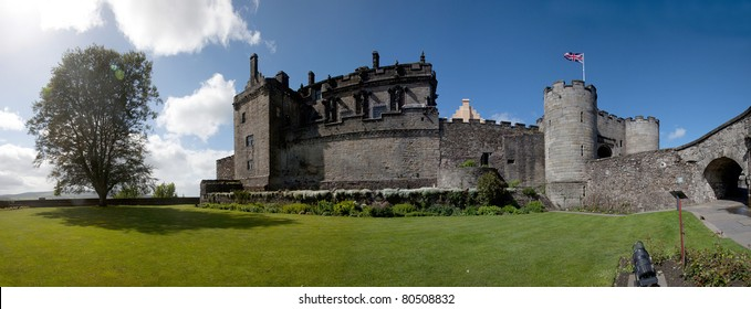 Stirling castle and old town after a storm in the Scottish Lowlands Scotland UK