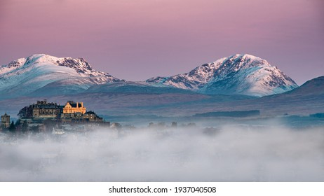 Stirling Castle on a wintery Scottish day just before sunrise hits the castle