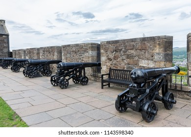 Stirling Castle, Scotland - May 19 2018: Grand Battery of cannons and fortifications at Medieval Stirling Castle, Scotland