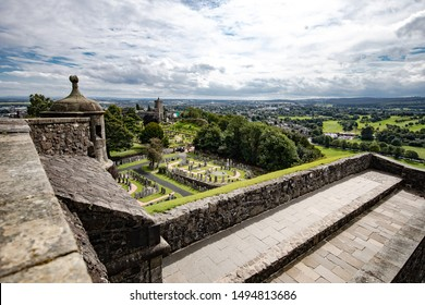 Stirling castle Scotland on a sunny day with blue and cloudy sky