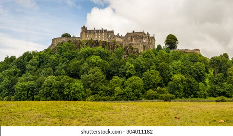 Stirling Castle through trees on a spring day, Scotland