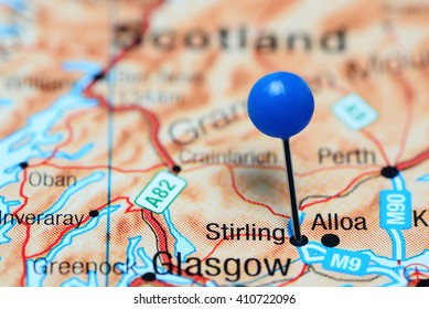 Stirling pinned on a map of Scotland