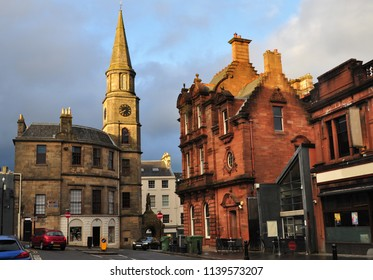Stirling/ Scotland - 04/25/2018; Houses of the Corn Exchange Street with a view of the Steeple in the distance