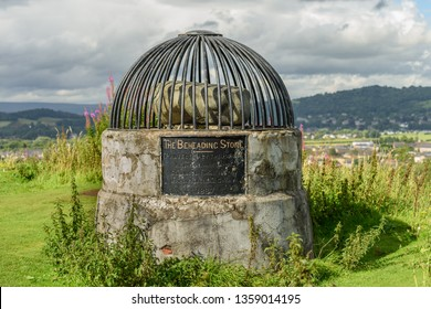 STIRLING, SCOTLAND - AUGUST 17, 2017: The Beheading Stone on Mote hill (Gowanhill), Stirling, Scotland.