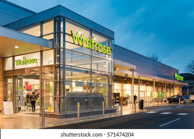 STIRLING SCOTLAND - FEBRUARY 03, 2017: Exterior of the Waitrose store at dusk  in Stirling, Scotland.