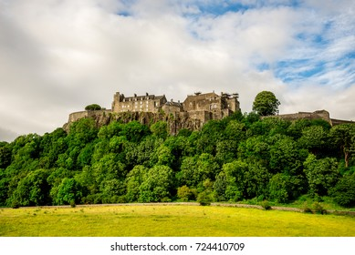 Stirling, Scotland, June 2017: A summer view of Stirling Castle on top of the rocky hill