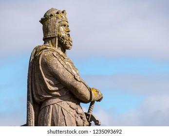 Stirling, Scotland - September 28 2018: statue of Robert the Bruce, King of Scotland 1306-1329 (detail)