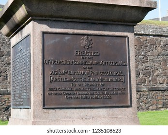 Stirling, Scotland - September 28 2018: Memorial outside Stirling Castle commemorates the Argyll and Sutherland Highlanders who gave their lives in the Anglo-Boer War(or South African War) (1899-1902)
