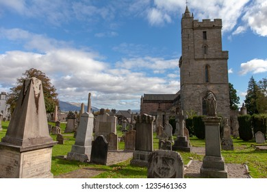 Stirling, Scotland - September 28, 2018: The Church of the Holy Rude at the old Stirling cemetery (detail)