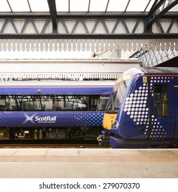 STIRLING, SCOTLAND, UK - 18 MAY 2015; ScotRail Trains at the platform of Stirling Railway Station