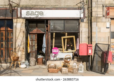 Stirling, Scotland, UK - 23 March 2015: attractive antique bric a brac shop in Stirling old town with assortment of items outside
