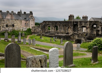 Stirling, Scotland, UK - June 8, 2018: 16th Century Mar's Wark stone townhouse ruins at Royal Old Town cemetery at the Church of the Holy Rude on Castle Hill Stirling Scotland UK