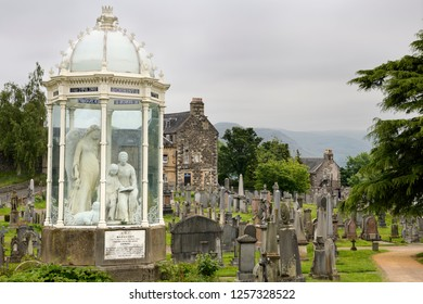 Stirling, Scotland, UK - June 8, 2018: The Martyrs Monument for Margaret and Agnes Wilson drowned for presbyterianism at the Holy Rude Royal Old Town cemetery Stirling Scotland