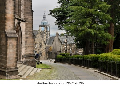 Stirling, Scotland, UK - June 8, 2018: Road at Church of the Holy Rude leading to Stirling Boys Club and The Tolbooth clock tower on Castle Hill Stirling Scotland UK