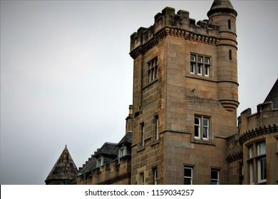 Stirling, Stirlingshire / Scotland - August 14 2018: Airthrey Castle is a landmark on the Stirling University campus helping to make this one of the most scenic campuses in Europe