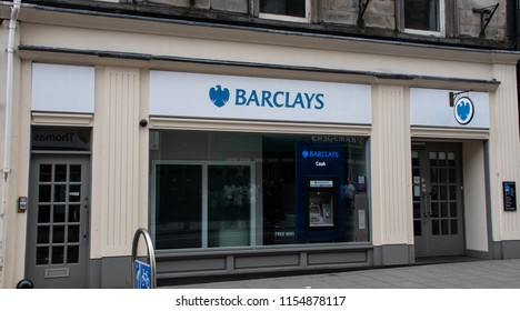 Stirling, United Kingdom - August 11 2018:   The front of Barclays Bank branch in Murray Place