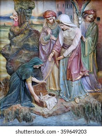 STITAR, CROATIA - AUGUST 27: Finding of Moses, altarpiece on altar of Our Lady in the church of Saint Matthew in Stitar, Croatia on August 27, 2015