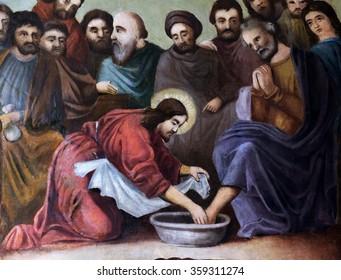 STITAR, CROATIA - AUGUST 27: Jesus washes the feet of Peter, fresco in the church of Saint Matthew in Stitar, Croatia on August 27, 2015