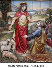 STITAR, CROATIA - AUGUST 27: Jesus said to Peter, Feed My Sheep, altarpiece on altar of St. Anthony the Great in the church of Saint Matthew in Stitar, Croatia on August 27, 2015