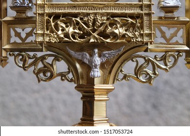 STITAR, CROATIA - DECEMBER, 09, 2016: Holy Spirit Bird, detail of monstrance, Church of Saint Matthew in Stitar, Croatia