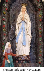 STITAR, CROATIA - NOVEMBER 24: Altar of Our Lady of Lourdes in the church of Saint Matthew in Stitar, Croatia on November 24, 2015