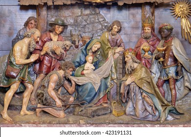STITAR, CROATIA - NOVEMBER 24: Nativity Scene, altarpiece in the church of Saint Matthew in Stitar, Croatia on November 24, 2015
